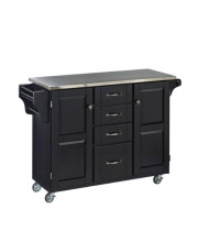 Home Styles Large Mobile Create-A-Cart Black Finish Two Door Cabinet Kitchen Cart With Stainless Steel Top Adjustable Shelving Four Large Utility Drawers