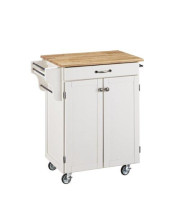 Create-A-Cart White Kitchen Cart With Wood Top With Home Styles