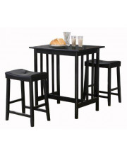 Homelegance 3-Piece Counter Table and Stools in Black
