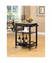 Kings Brand K02 Faux Marble With Wood Kitchen Buffet Serving Cart Black Finish