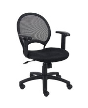 Boss Office Products Mesh Task Chair With Adjustable Arms In Black
