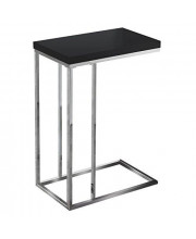 Monarch Specialties 3018 Chrome Accent Metal Base C-Table Glossy Black