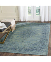 """Safavieh Vintage Premium Collection VTG112-2220 Transitional Oriental Turquoise and Multi Distressed Silky Viscose Area Rug (4' x 5'7"""")"""