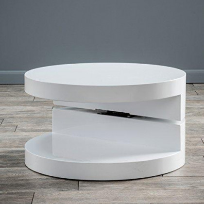 Christopher Knight Home Emerson Small Circular Mod Swivel Coffee Table, White