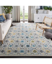 """Safavieh Evoke Collection EVK210C Contemporary Ivory and Blue Area Rug (5'1"""" x 7'6"""")"""