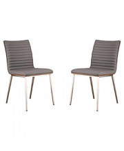 Armen Living LCCACHGRB201 Cafe Dining Chair Set of 2 in Grey Faux Leather and Brushed Stainless Steel Finish