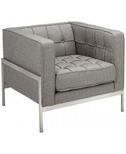 Armen Living Andre Side Chair in Grey Tweed and Brushed Stainless Steel Finish