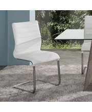 Armen Living Fusion Dining Chair Set of 2 in White Faux Leather and Brushed Stainless Steel Finish
