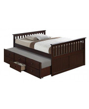 Broyhill Kids Marco Island Full Captain's Bed with Trundle, Espresso Full-Sized Bed with Twin-Sized Trundle, Bunk Bed Alternative, Great for Sleepovers, Underbed Storage/Organization