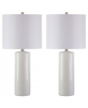 Signature Design By Ashley - Steuben Textured Ceramic Table Lamp Set With Drum Shades - Contemporary - Set Of 2 - Solid White 2 Piece