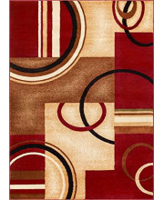 """Well Woven Deco Rings Red Geometric Modern Casual Area Rug 5x7 (5'3"""" x 7'3"""") Easy to Clean Stain Fade Resistant Shed Free Abstract Contemporary Color Block Boxes Lines Soft Living Dining Room Rug"""