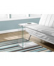 Monarch Specialties C Table - Tempered Glass Accent Table Glossy White C-Table
