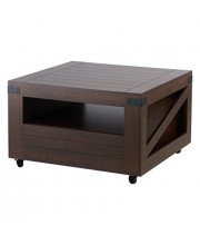 Iohomes Clyde Industrial 1-Drawer Square Coffee Table With 1 Open Shelf Magazine Rack And Caster Wheels 31 Vintage Walnut