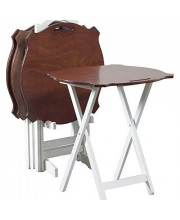 Powell Furniture Laptop Folding Modern Tray Table White With Hazelnut Top