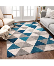 """Well Woven Isometry Blue & Grey Modern Geometric Triangle Pattern 3'3"""" x 5 Area Rug Soft Shed Free Easy to Clean Stain Resistant"""