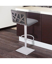 Armen Living Crystal Swivel Adjustable Barstool in Grey Faux Leather and Brushed Stainless Steel Finish