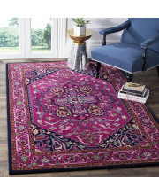 Safavieh Bellagio Collection BLG541C Pink and Navy Bohemian Medallion Premium Wool Area Rug (4' x 6')