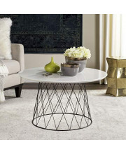 Safavieh Fox4244C Home Collection Roe Retro Mid-Century White And Black Wood Coffee Table
