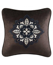 """J. Queen New York Paloma Embellished Square Pillow, Chocolate, 18"""""""