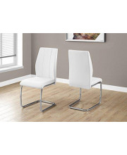 Monarch Specialties 2 Piece DINING CHAIR-2PCS/ 39 H/WHITE LEATHER-LOOK/CHROME 1725 L x 2025 D x 3875 H