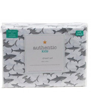 Authentic Kids Happy Sharks All Cotton Twin Size Sheet Set