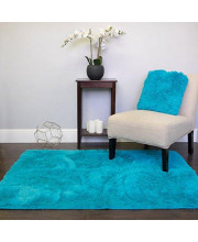 Faux Fur Area Rug Decorative 4' x 5' Ultra Soft and Luxurious Cruelty Free Eco Friendly Shag Non Skid Premium Floor Cover for Living Room, Dining Room, Bedroom, and more!, Turquoise Blue