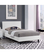 Modway Anya Upholstered White Twin Platform Bed With Wood Slat Support