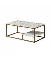 Versanora Marmo Coffee Table Faux Marble/Brass