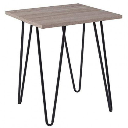 """Flash Furniture Oak Park Collection Driftwood Wood Grain Finish End Table with Black Metal Legs , 19""""W x 19""""D x 22""""H"""