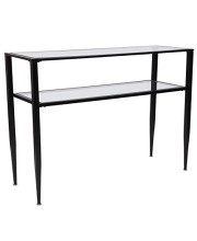 Flash Furniture Newport Collection Glass Console Table with Shelves and Black Metal Frame