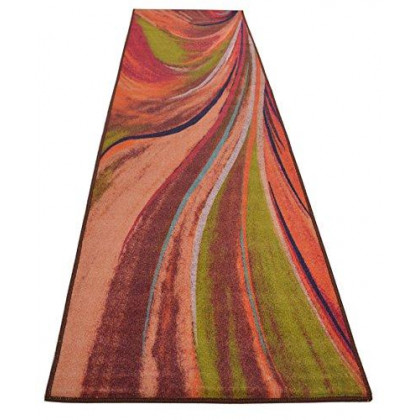 """Abstract Rainbow Waves Runner Rug Slip Skid Resistant Rubber Backing Anti Bacterial Area Rug (Multi-Color, 1'11"""" x 6'11"""")"""
