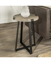 We Furniture Rustic Farmhouse Round Metal Side End Accent Table Living Room 18 Inch Grey
