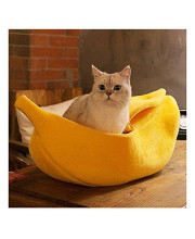 WORDERFUL Pet Dog Cat Banana Bed House Pet Boat Dog Cat Warm Hourse Soft Yellow Sleep Nest for Cats Kittens Pet Bed (M)