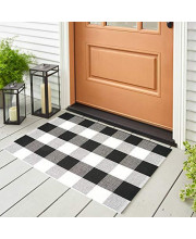 Winwinplus Buffalo Check Outdoor Rug, Washable Woven Cotton Layered Door Mats Porch, 2' x 3', Black and White Plaid Rug