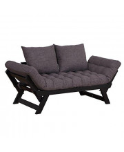 HOMCOM Single Person 3 Position Convertible Couch Chaise Lounger Sofa Bed, Dark Grey
