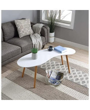 Convenience Concepts Oslo Bean Shaped Coffee Table White / Bamboo