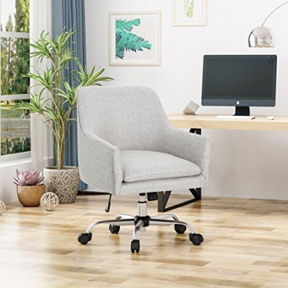 Christopher Knight Home 305755 Morgan Mid Century Modern Fabric Home Office Chair with Chrome Base, Beige, Wasabi