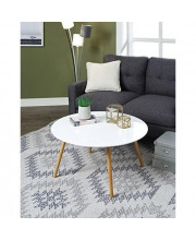 Convenience Concepts Oslo Round Coffee Table Glossy White