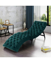 Ilunar Home Large Chaise Lounge Chair with Elegant Tufted Velvet Teal Upholstery