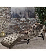 Large Chaise Lounge Chair with Elegant Tufted Velvet Grey Upholstery