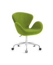 Classic Swan Chair Swivel Height Adjustable Lounge Chair with Casters, Cashmere (Green)