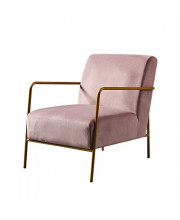 Versanora Chelsea Armchair with Metal Leg and Mauve Fabric, Gold Finish