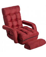Folding Lazy Floor Chair Sofa Lounger Bed Chaise Couch Padded Gaming Chair Recliner with Armrests and a Pillow, Red