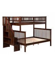 Woodland Staircase Bunk Bed Twin over Full in Antique Walnut