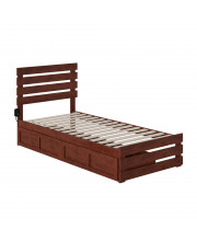 Oxford Twin Extra Long Bed With Footboard And Usb Turbo Charger With 2 Extra Long Drawers In Walnut