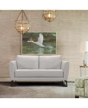 Armen Living Hope Contemporary Loveseat in Genuine Dove Grey Leather with Black Metal Legs