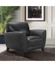 Armen Living Jedd Contemporary Chair in Genuine Black Leather with Brown Wood Legs