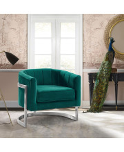 Armen Living Kamila Contemporary Accent Chair in Green Velvet and Brushed Stainless Steel Finish