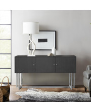 Armen Living Prague Contemporary Buffet in Brushed Stainless Steel Finish and Gray Wood