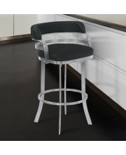 Armen Living Prinz 30' Bar Height Metal Swivel Barstool in Black Faux Leather with Brushed Stainless Steel Finish